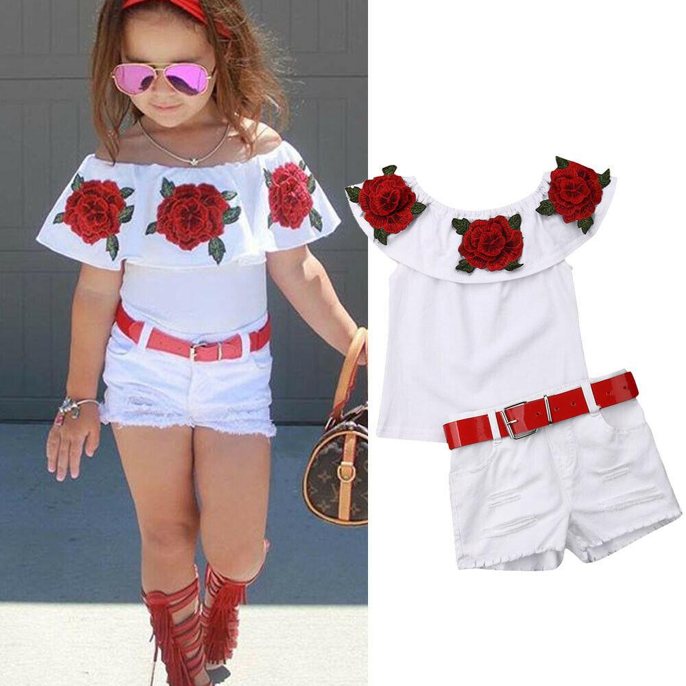 2pcs Baby Girl Kids Off Shoulder 3D Flower Blouse Top Dress Skirt Outfit Clothes