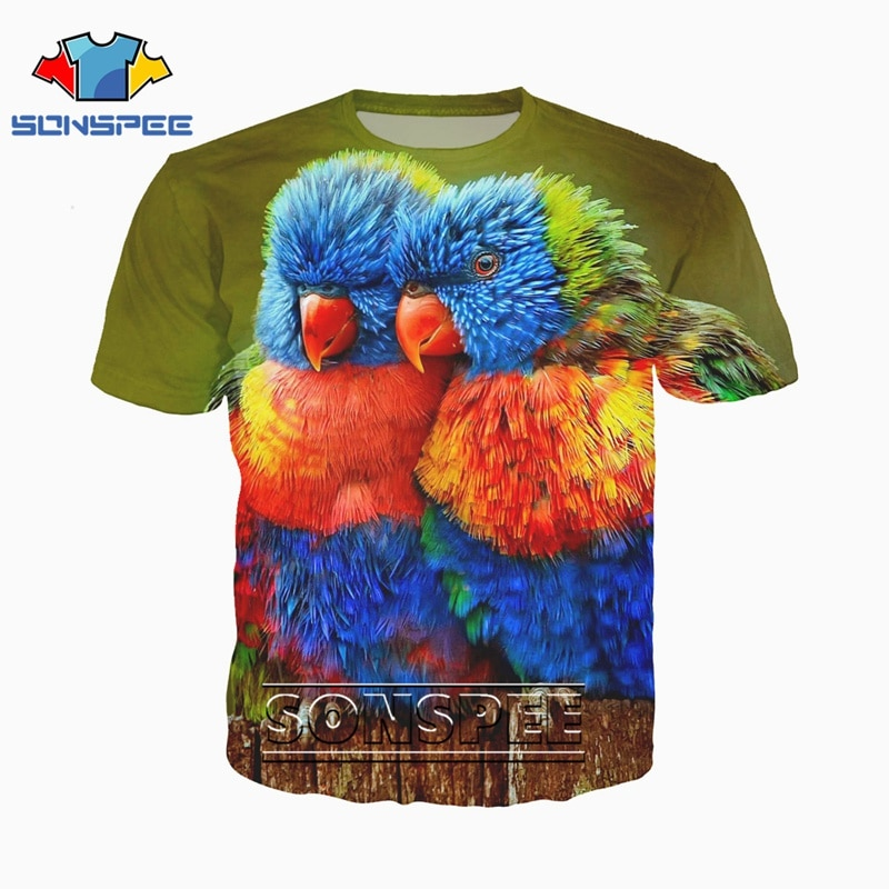 3D Printed T-Shirts Colorful Bird Feather from Wing Short Sleeve Tops Tees