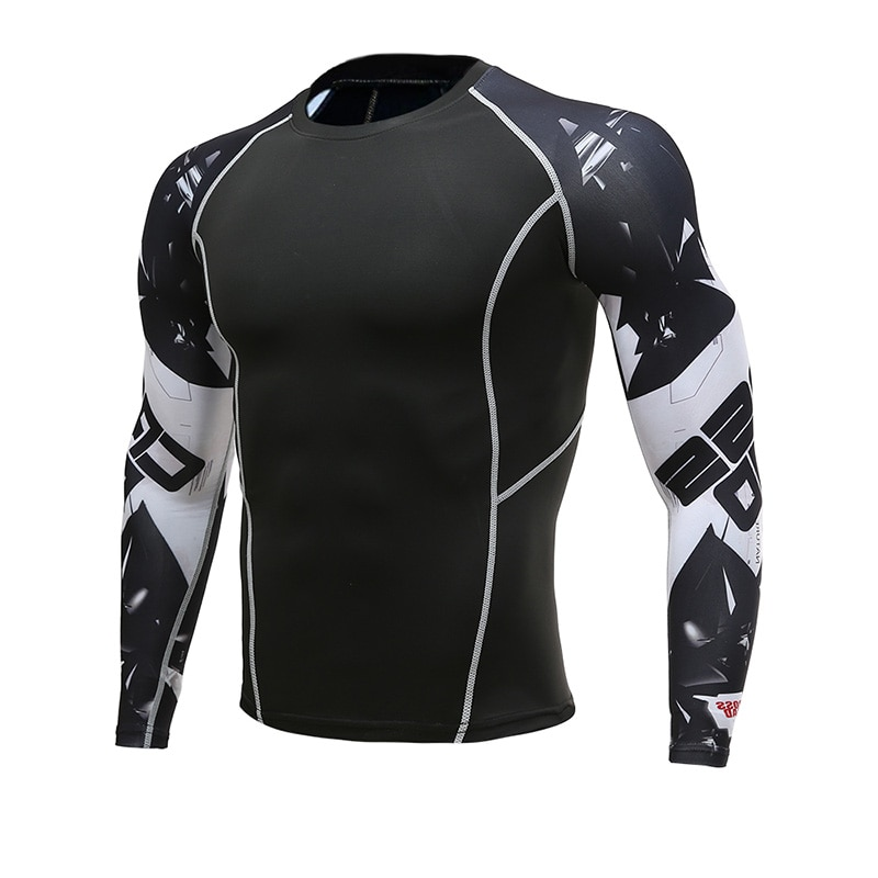 New Men Long Sleeve Skin Rash Guard Graphic Compression Fitness T-Shirts