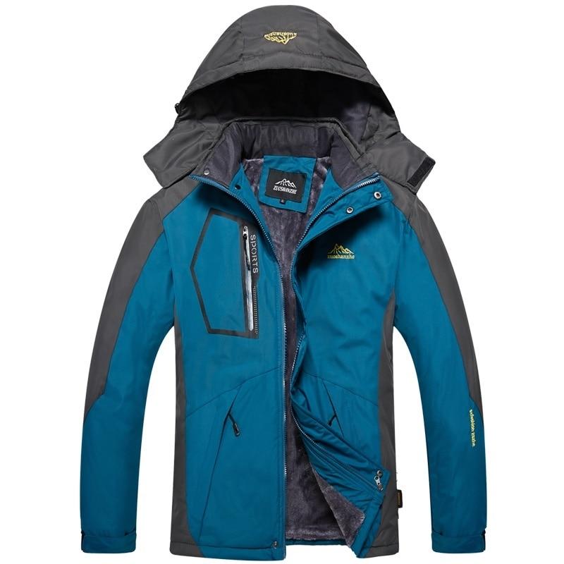 Mens Outdoor Windproof Waterproof Hooded Jacket Plus  Winter Fleece Warm Coat