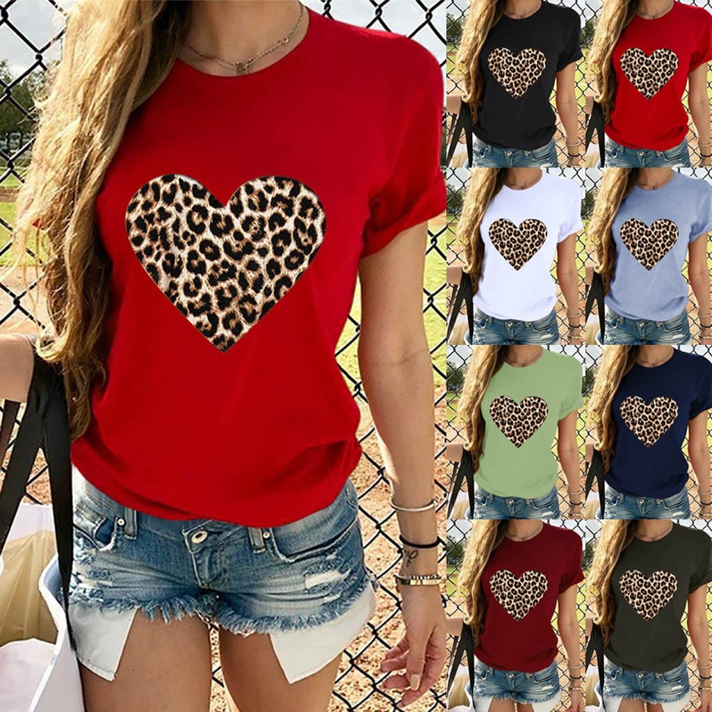 Womens Heart Leopard Printed T-shirt Short Sleeve Tops Casual Fit Crop Blouse